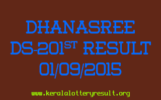 DHANASREE DS 201 Lottery Result 1-9-2015