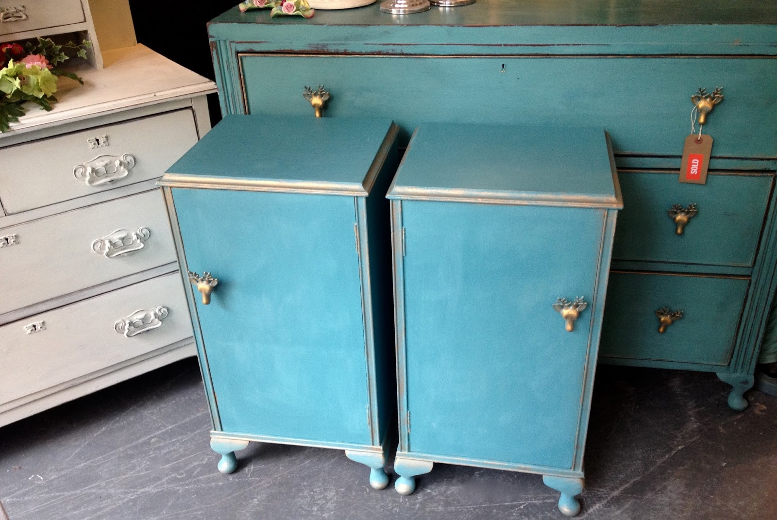 1950s Stag Head Bedside Cabinets