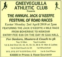 Boherbue to Kiskeam 4 mile race in NW Cork...Mon 2nd Apr 2018