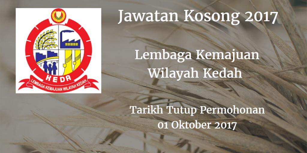 Jawatan Kosong KEDA 01 Oktober 2017