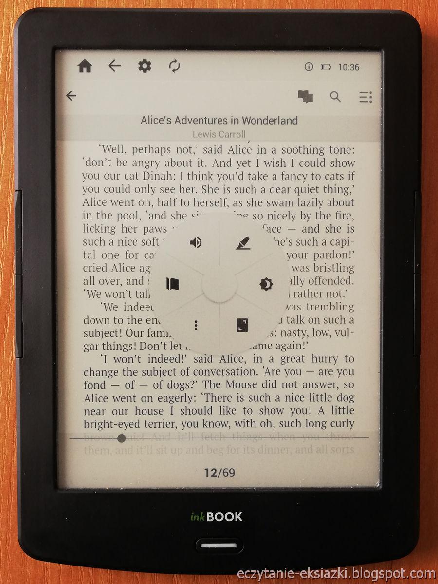 PocketBook Reader InkBOOK LUMOS – pierwszy panel menu e-booka