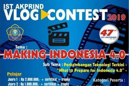 Lomba Vlog Contest IST Akprind 2019 SMA Sederajat & Mahasiswa Gratis