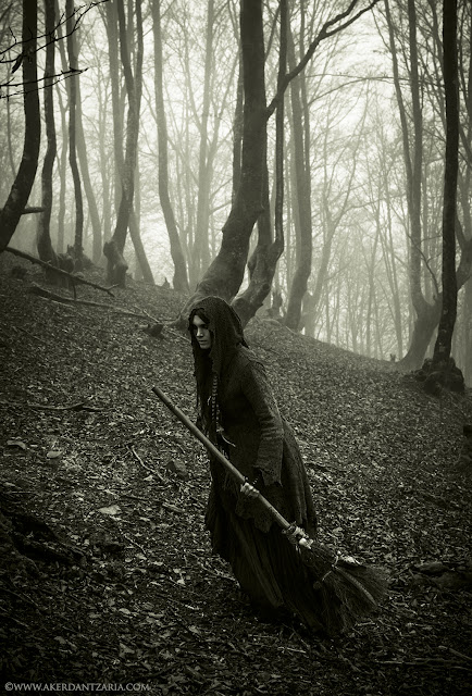 Witch Besom with a crow skull