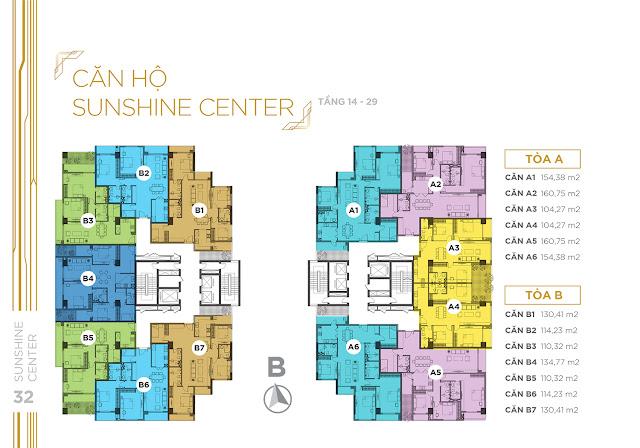 Mặt bằng căn hộ tầng 14 - 29