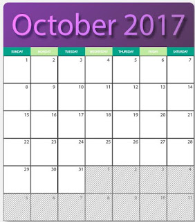 printables two blank kalendars for October 2017 - editable in eps and ai formats images with HQ images. for free download.
