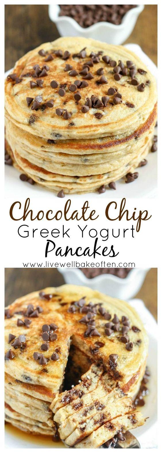 CHOCOLATE CHIP GREEK YOGURT PANCAKES #chocolate #chocolatechip #greek #yogurt #pancakase #breakfast #breakfastrecipes
