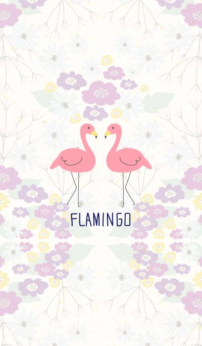 Flamingo and flower- Purple-