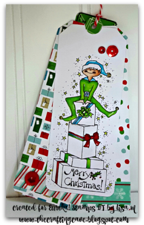 Christmas Tags with Eureka! Stamps by Lisa In the Crafting Cave
