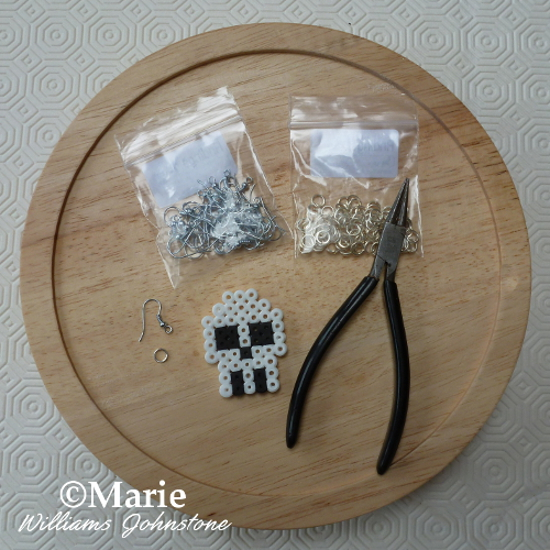 Equipment tools needed to make Perler bead earrings fused beads Hama jewelry making craft