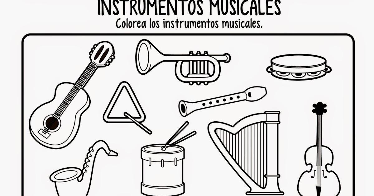 Famoso Instrumentos De Música Para Colorear Motivo - Dibujos Para ...