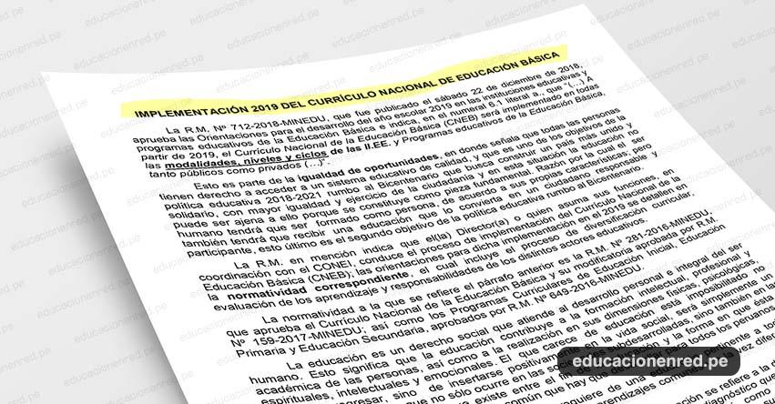 ANÁLISIS: Implementación 2019 del Currículo Nacional de Educación Básica (Fernando Gamarra Morales)