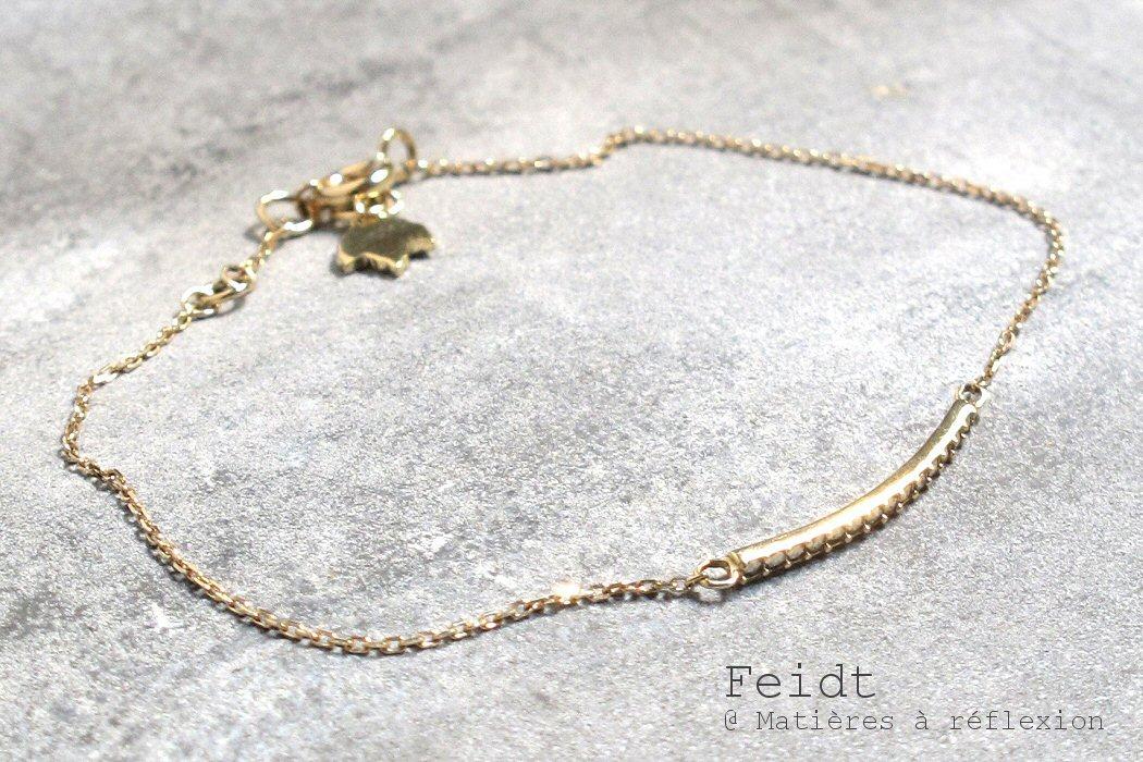 Feidt bracelet barrette Marcassites or jaune 9 carats