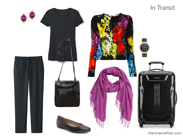 A travel outfit in a 3 dress travel capsule wardrobe for a formal weekend