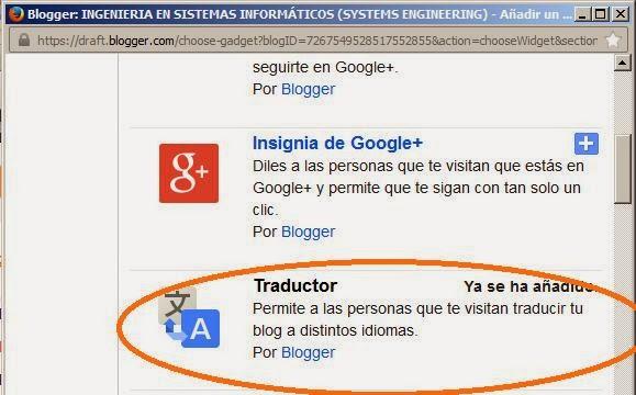 Gadget Traductor, para agregar en blog de blogger