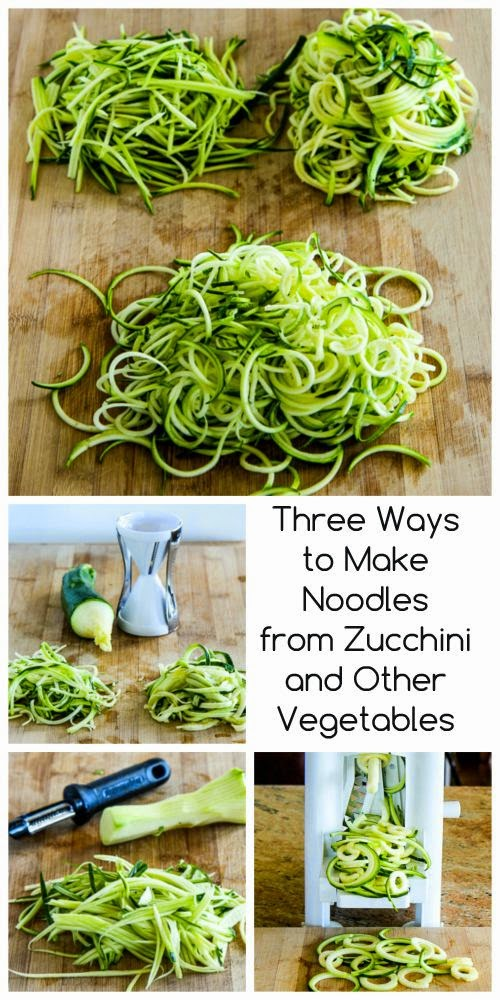 Three Ways to Make Noodles from Zucchini and Other Vegetables found on KalynsKitchen.com