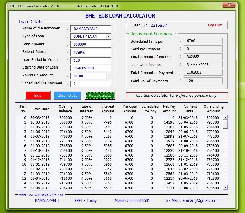 bhe ecb loan calculator