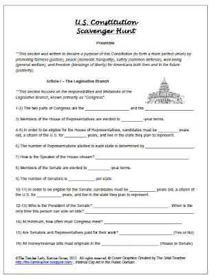 28+ [ Constitutional Scavenger Hunt Worksheet ...