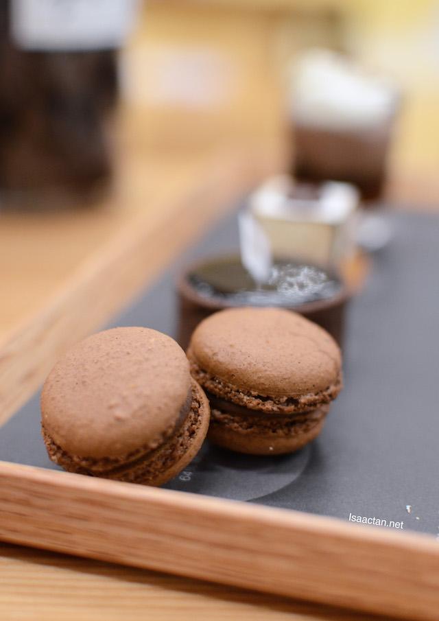 64% madagascan chocolate macaron