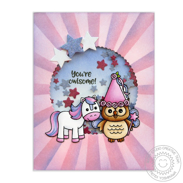 Sunny Studio Stamps: Happy Owl-o-ween & Barnyard Buddies Princess Owl & Pony Card by Mendi Yoshikawa
