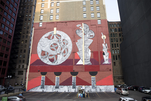 Globe-trotting muralist 2501 has now reached the shores of Chicago, Illinois where he spent the last few days working on a super-sized piece.