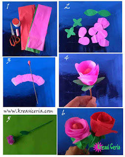 Cara membuat prakarya bunga dari kertas krep