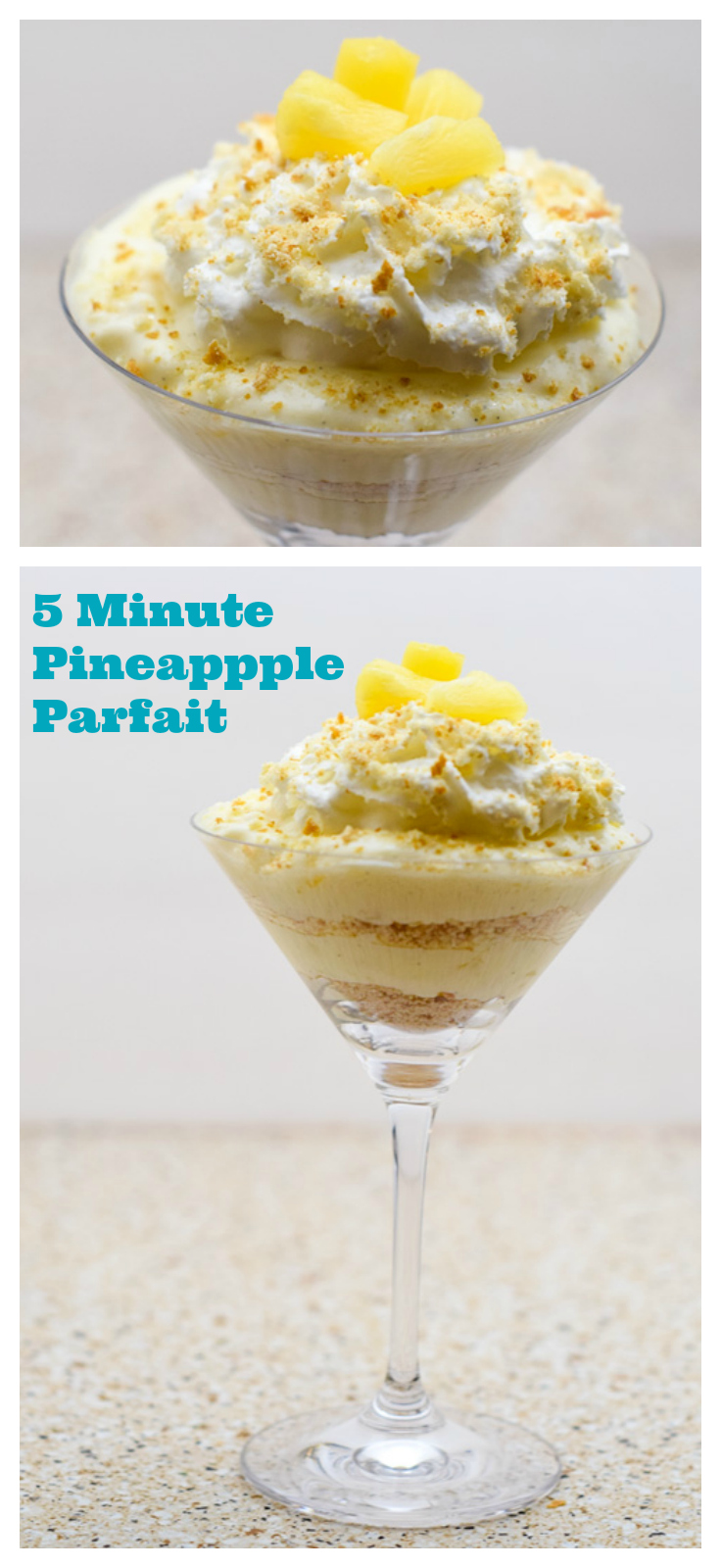 """A quick and easy dessert featuring healthy yogurt, pineapple, and cookie crumbs. Don't have time to make a healthy dessert or any dessert? There are no excuses now! This pineapple parfait only takes 5 minutes to make! Now that's a quick dessert! The recipe also comes with a free """"Do Not Disturb / Pampering In Progress"""" door knob hanger so you can eat your dessert in peace! #MullerMoment #CollectiveBias #ad #pineapple #quick #easy #desserts #yogurt"""