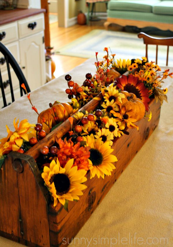 fall table centerpiece, wood tool trough