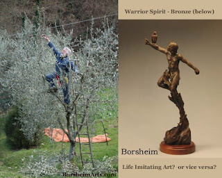 Life Imitates Art or Art Imitates Life Warrior Spirit Flying Reaching Bronze Sculpture