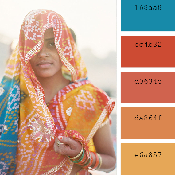 summer color palettes inspired in India