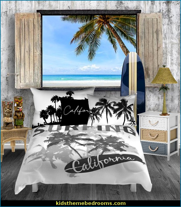 surfer boys bedroom decorating ideas  surfing bedroom - beach surf themed bedroom ideas - surfer girl themed bedrooms - surf decor for bedroom  - beach theme bedrooms - surfer girls - girls surfing themed bedroom ideas - surfer boys - surfing themed bedroom decorating ideas - beach bedrooms - raffia valance window ideas - 3d wall decorations - surfing decor - surfer girls surfing bedrooms surf bedding -  coastal living style -