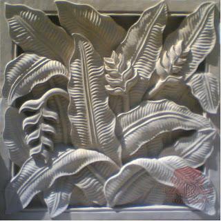 relief roster batu alam paras jogja motif daun pisang