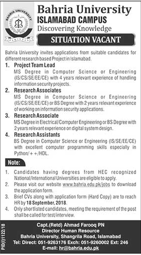 Bahria University Jobs 2018 | Islamabad | September