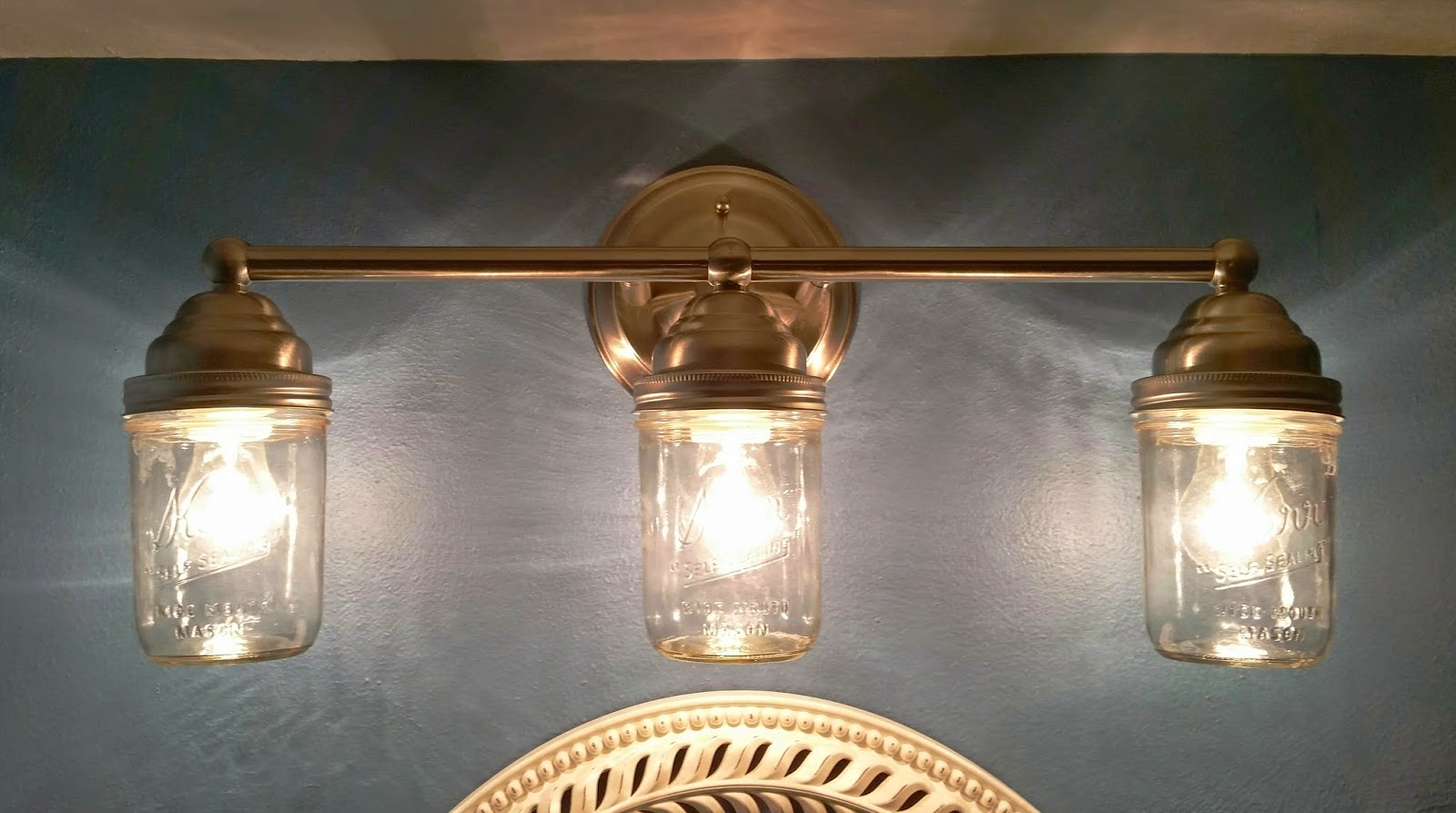 DIY Mason Jar vanity light fixture