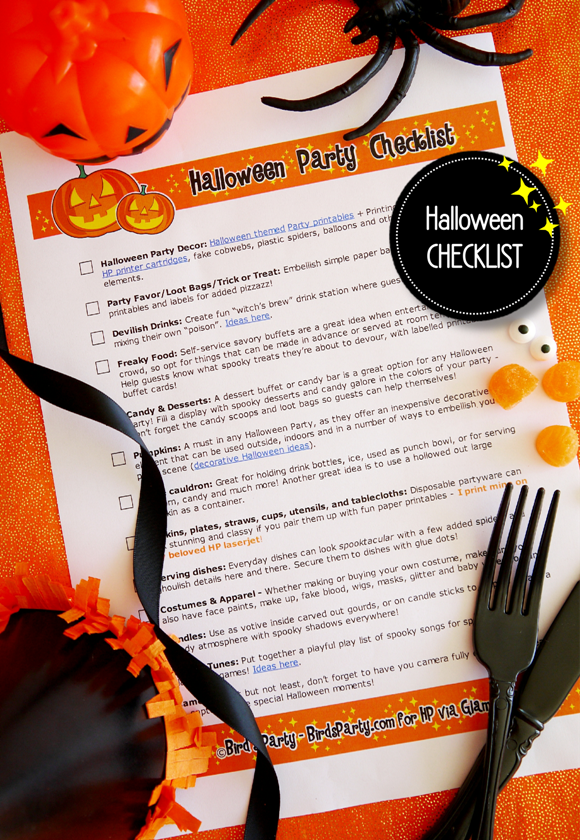 FREE Printable Halloween Party Checklist  - BirdsParty.com