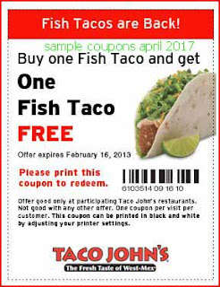 free Taco Johns coupons for april 2017
