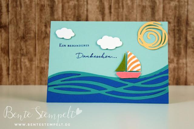 Stampin Up Swirly Bird  Wunderbar verwickelt Schiff Boot ship boat Meer ocean Wolken Donnerwetter Dankeskarte Ein besonderes Dankeschön