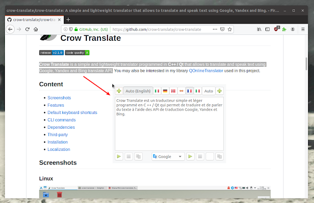 Crow Translate Popup