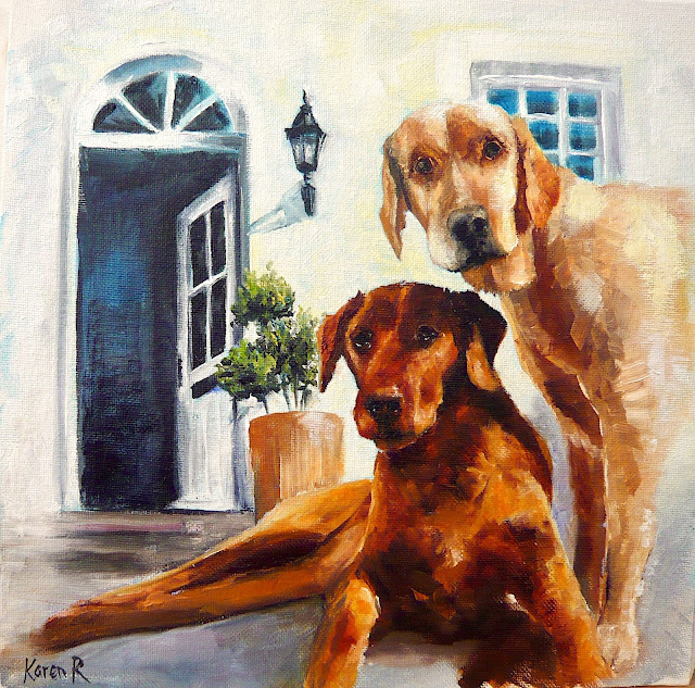 What's the password? oil painting of two labradors in front of a doorway