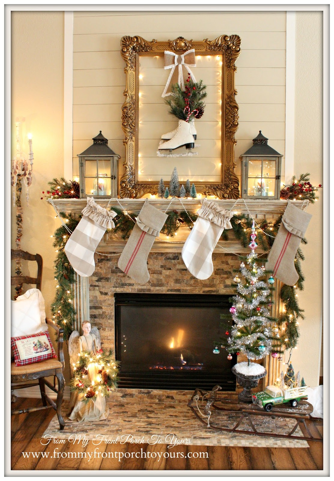 Christmas Mantel-Ideas-French Farmhouse-French Country- Vintage Christmas Mantel- From My Front Porch To Yours