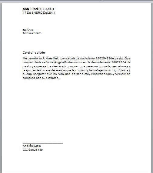 Ejemplos de cartas de recomendacion personal no laboral - Imagui