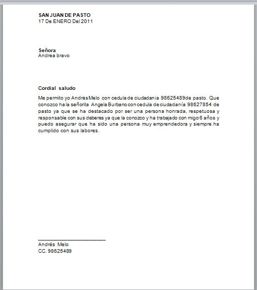 carta de recomendacion personal de un vecino imagui