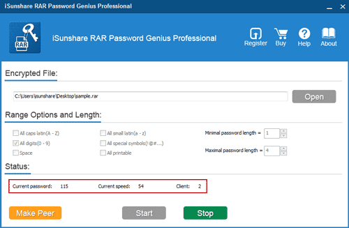 control rar password recovery in lan