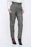 Pantaloni StarShinerS gri in carouri office din stofa cu talie inalta • StarShinerS