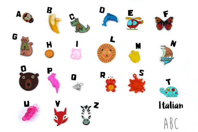 Multilingual ABC trinkets by TomToy, Italian language, Alphabet box objects, Montessori language objects, A-Z phonics, multilanguage Italian alphabet