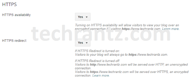 Picture showing where to turn on HTTPS for custom domains in blogger websites