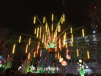 Pic of giant plants formed out of lights in Leicester Square, London