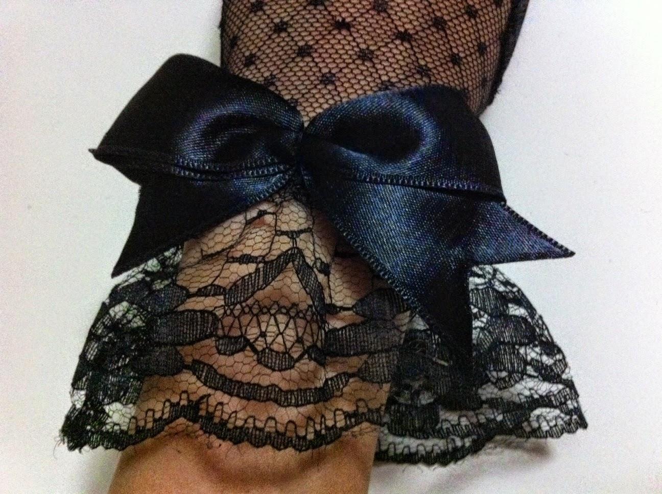 dantel tül eldiven siyah düğün gelin