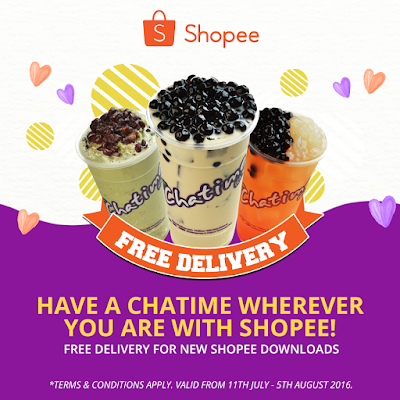Get Chatime Free Delivery with Shopee Sign Up