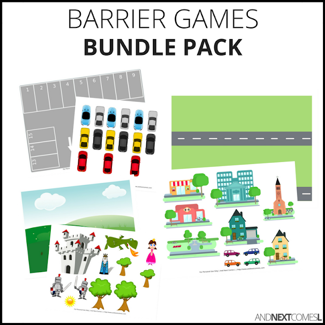 Speech therapy barrier game printables from And Next Comes L