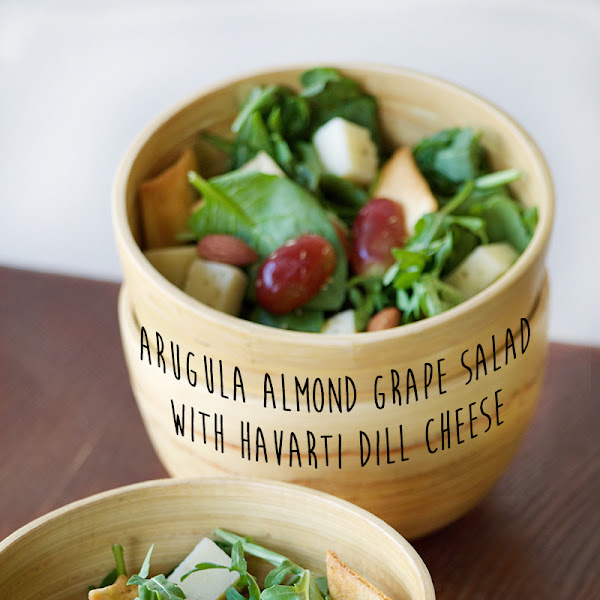Almond, Grape, Arugula Salad with Havarti Dill Cheese